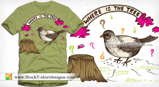 Cut Tree with Thinking Bird Vector T-shirt Design Illustration