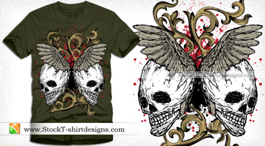 Vector Tee Design Illustration with Skull Floral and Wings