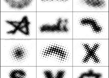 Halftone Circle Letter Brushes