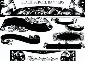 Vintage Floral Scroll Banner