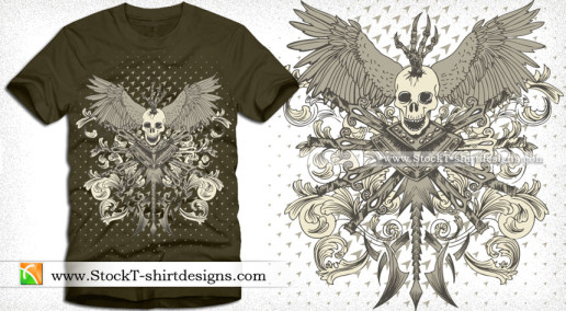 Vector Skull with Wings Sword and Floral T-shirt Design