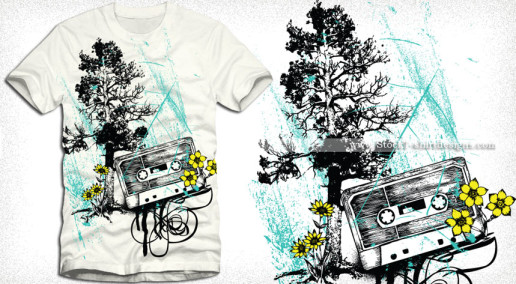 Vector Music T-shirt Design with Cassette Tree and Flowers