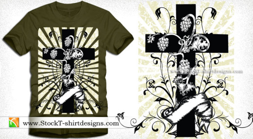 Cross with Sunburst Floral and Banner Vector Tee Graphic Design