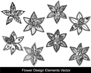 Flower Design Elements Vector