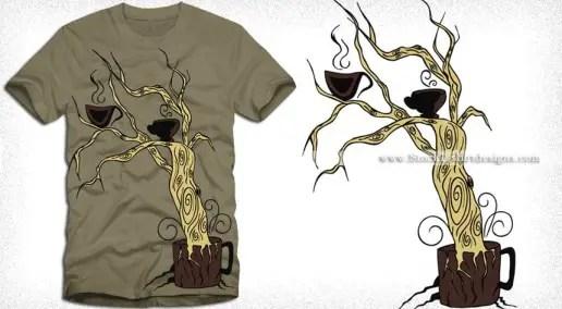 Coffee Tree Vector T-shirt Design