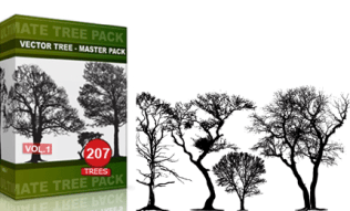 Vol.1 : Tree Vector & Brush Pack