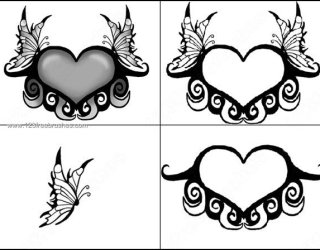 Butterflies Winged Heart Brushes