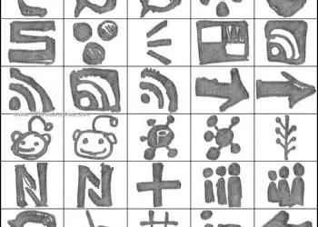 Grungy Watercolor Social Media Symbols Brushes