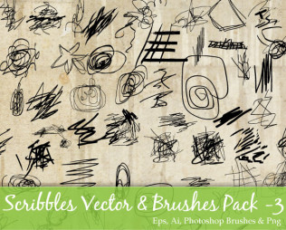 Scribble Vector and Photoshop Brushes Pack-3