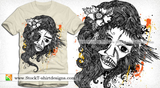 Vector Tshirt Design with Woman
