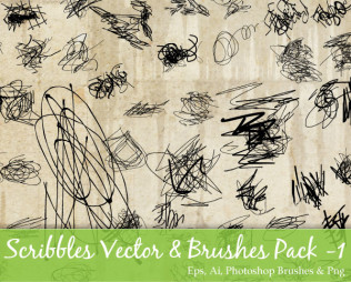 Scribble Vector and Photoshop Brushes Pack-1