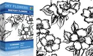 Sketchy Flowers Set.1 | Vol : 5