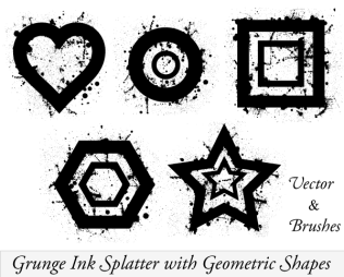 Vector Ink Splatter Illustrator with Geometric Shapes