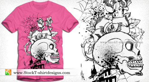 Skull with Flower Vector T-shirt Design