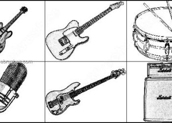 Free Guitar – Drum – Microphone Photoshop Brushes