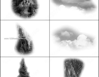 Clouds and Mountain Brushes Free