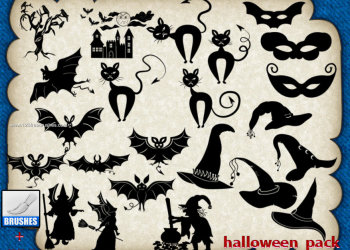 Halloween flying bats witch and hat