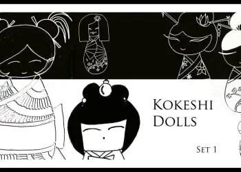 Hand Drawn Kokeshi Dolls