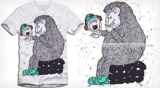 Cartoon Bear Playing with Clown Head T-shirt Design Vector