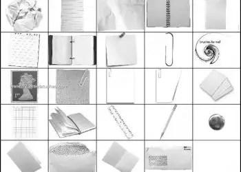 Stationery Brushes – Paper Clip –  Notebook Photoshop Brush