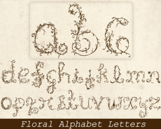 Floral Alphabet Letters Vector Graphics