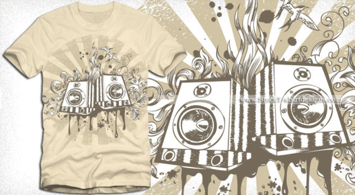 Vector Music Loudspeaker T shirt Design with Floral Graphics