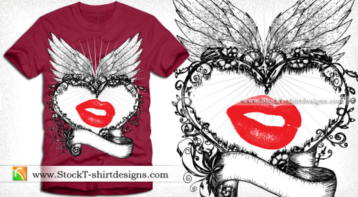 Lovely Heart Vector T-shirt Design