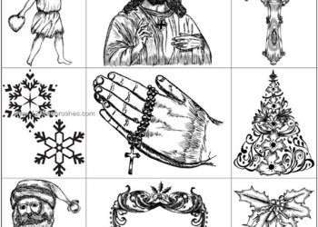 Religious Brushes Photoshop – Xmas Series Vector & Brush Packs