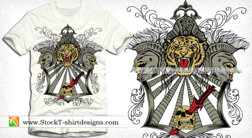 Vector Vintage T-shirt Design with Tiger