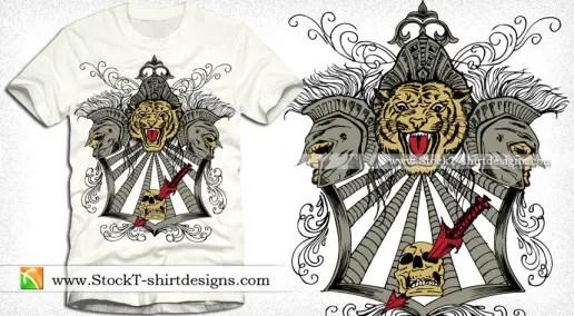 Vector Vintage T-shirt Design with Tiger