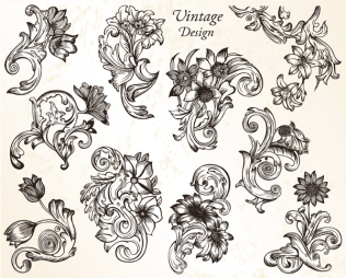 Vintage Flower Ornaments Vector