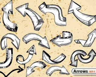 Sketchy Doodle Arrows Vector Pack-1