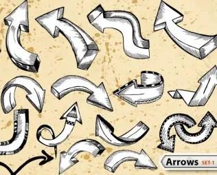 Sketchy Doodle Arrows Vector Pack-1