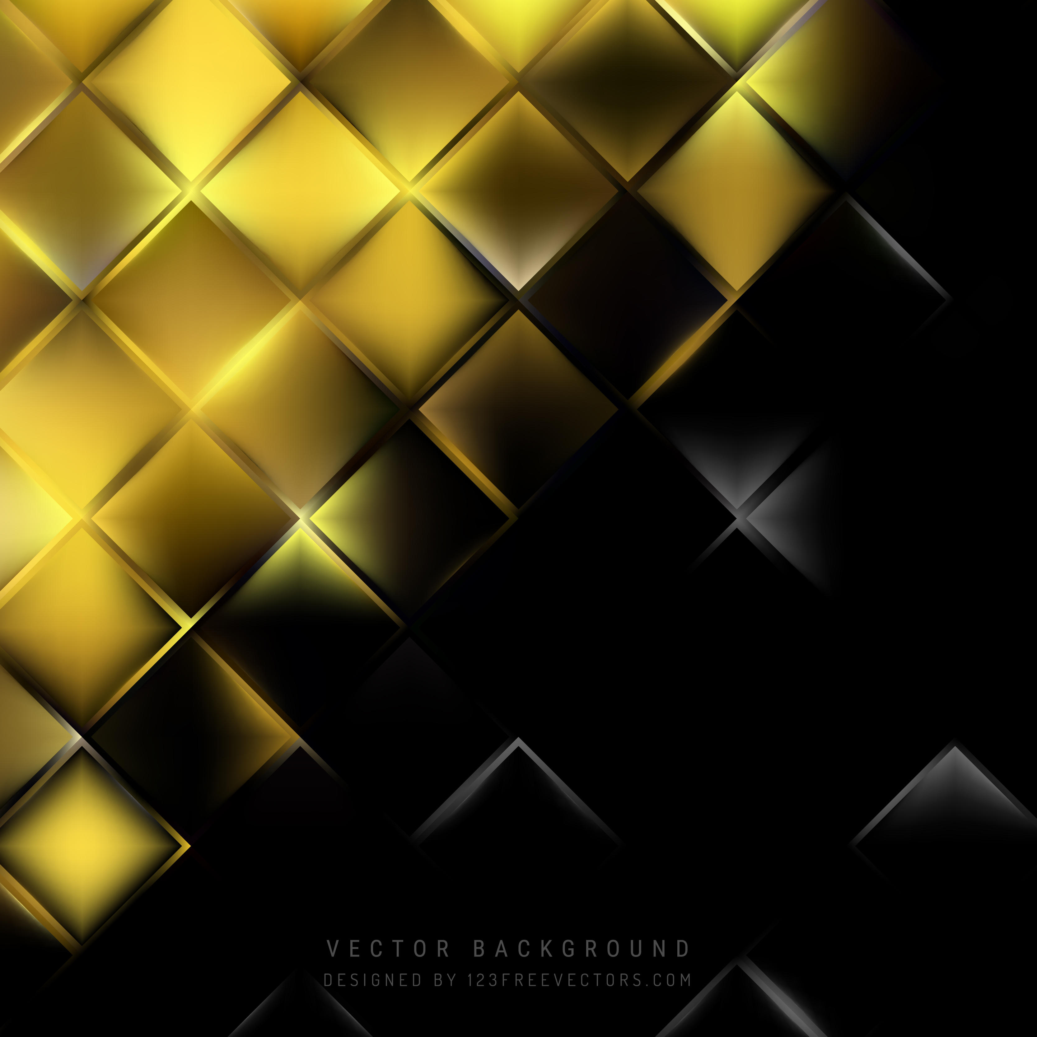 Abstract Black Gold Square Background Design