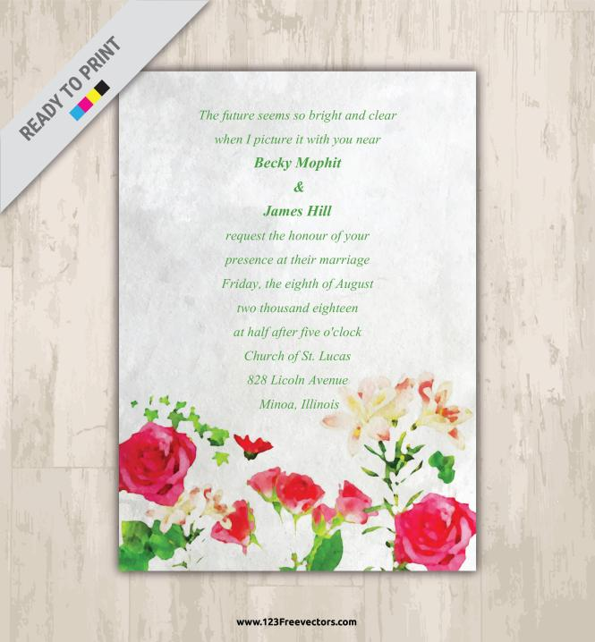 Watercolor Flower Wedding Invitation Vector Graphics 02