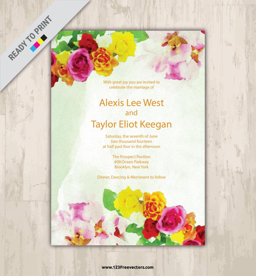 Watercolor Flower Wedding Invitation Vector Graphics Preview