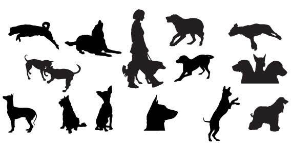 dog silhouettes free vector 123freevectors rh 123freevectors com dog silhouette vector image cat dog silhouette vector