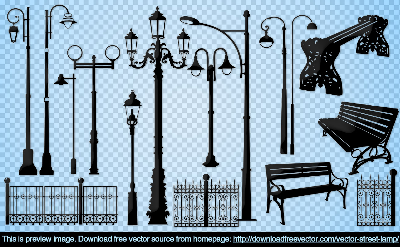 Street Lamp Free Vector | 123Freevectors for modern street lamp vector  257ylc
