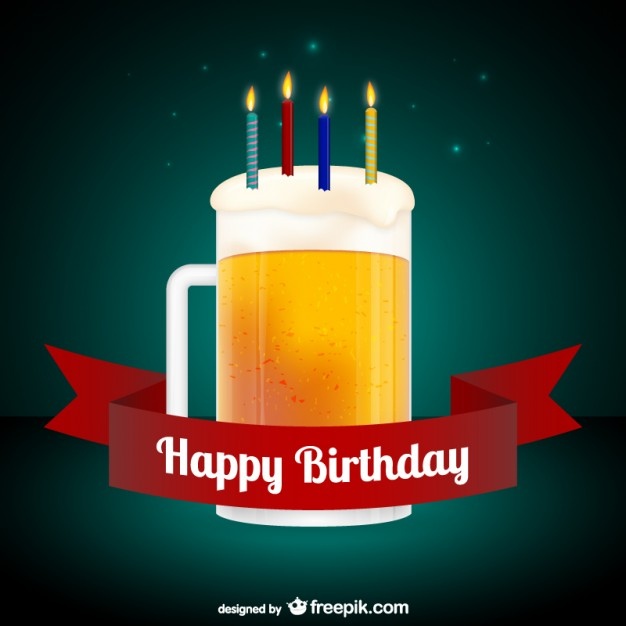 Happy birthday card with beer free vector 123freevectors happy birthday card with beer free vector m4hsunfo