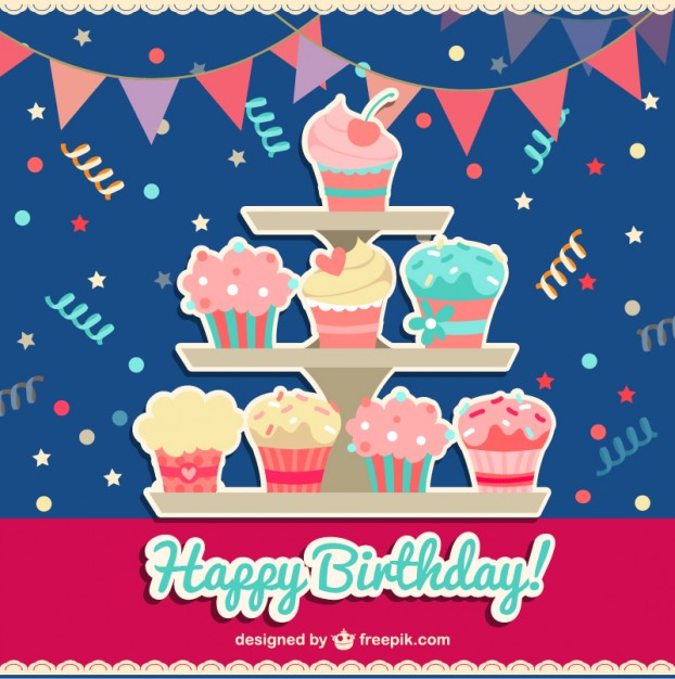 Happy Birthday Card With Cupcakes Free Vector 123freevectors