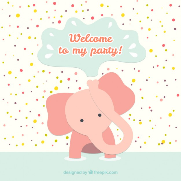 Birthday Card with Baby Elephant Free Vector