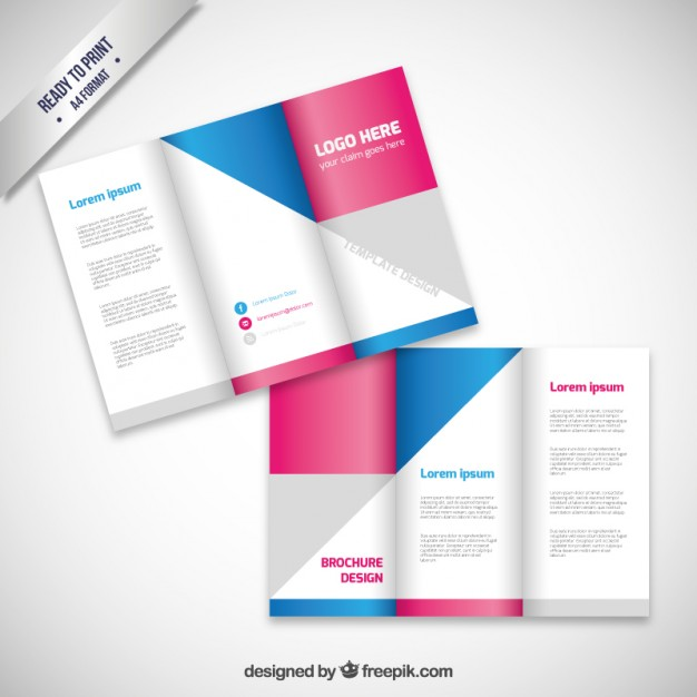 brochure design with geometric shapes free vector 123freevectors