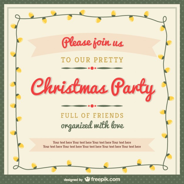 Christmas Party Invitation Template with Ornaments Free Vector ...