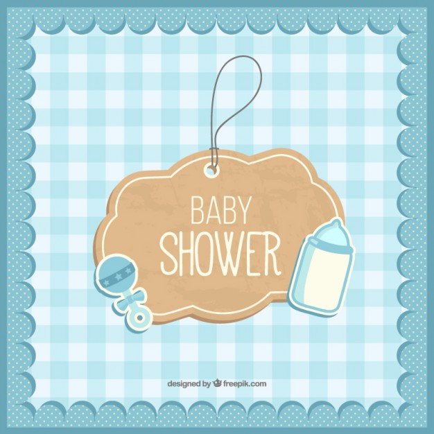 Cute Baby Shower Card Free Vector