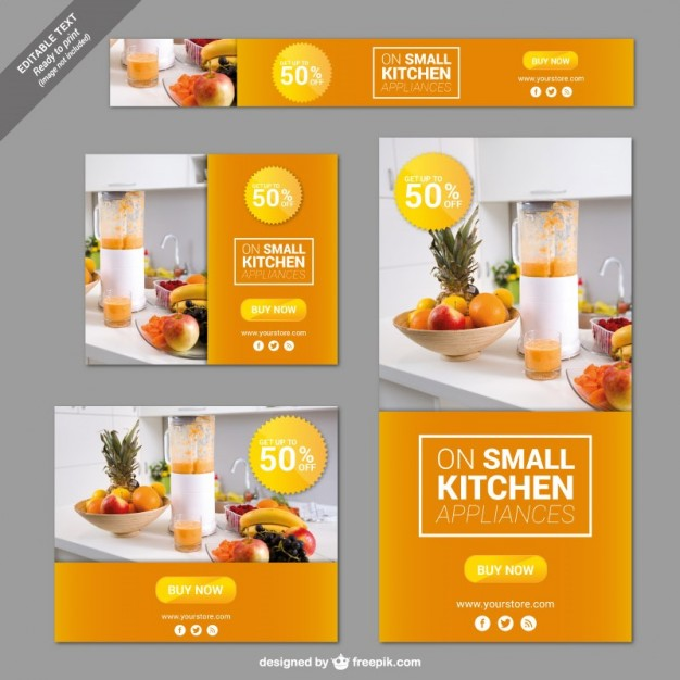 Kitchen Appliances Banners Free Vector | 123Freevectors