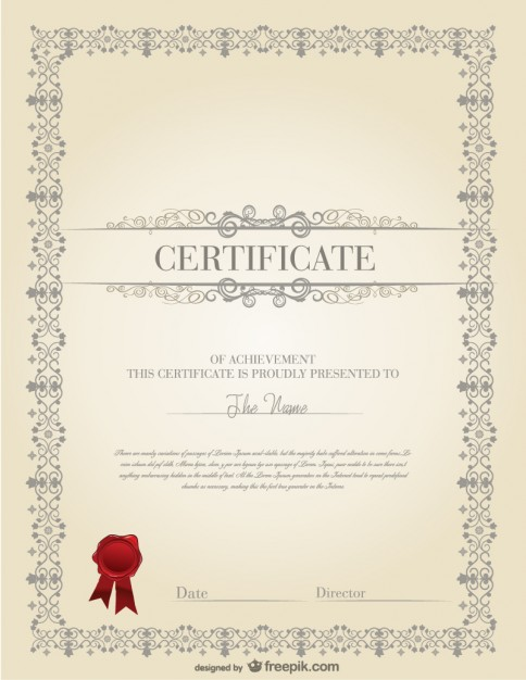 The certificate template design material free vector 123freevectors the certificate template design material free vector yelopaper Image collections