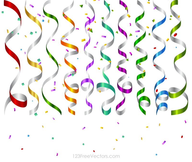 vector colorful birthday party streamers and confetti background