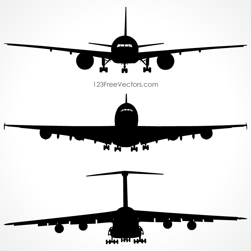 airplanes silhouette front view vector free 123freevectors