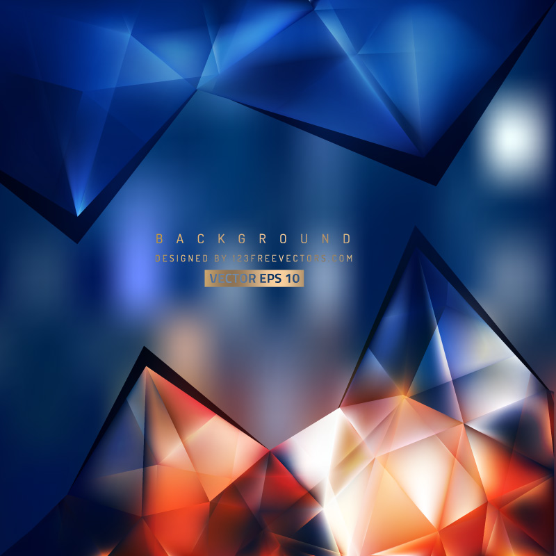 Abstract Dark Blue Orange Triangle Polygonal Background