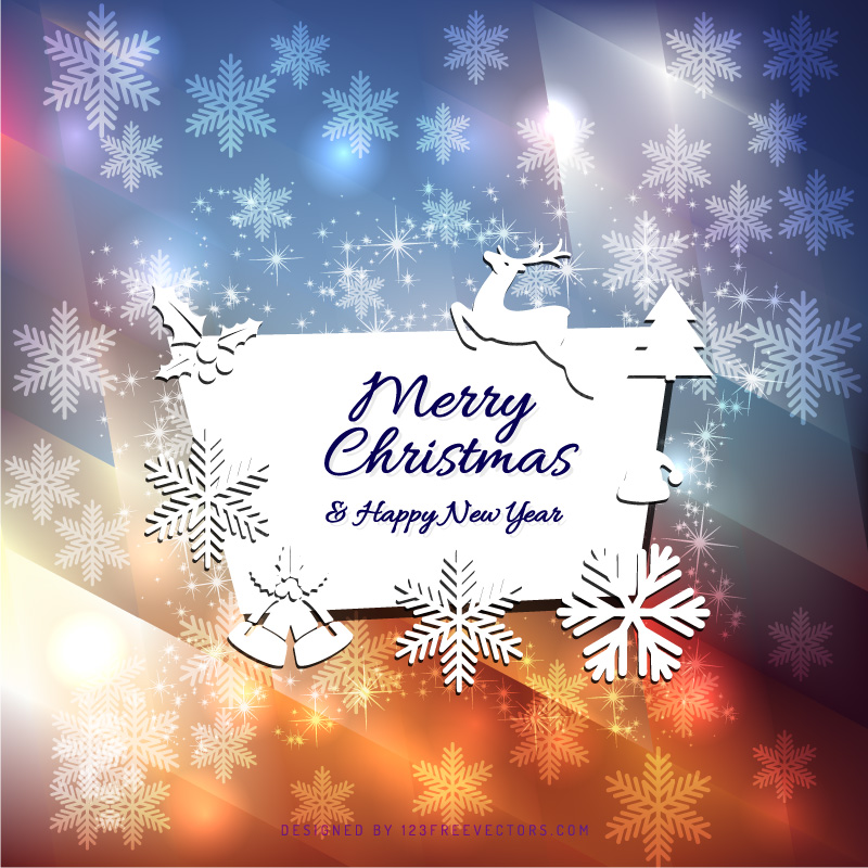 Merry Christmas and Happy New Year Card Design | 123Freevectors